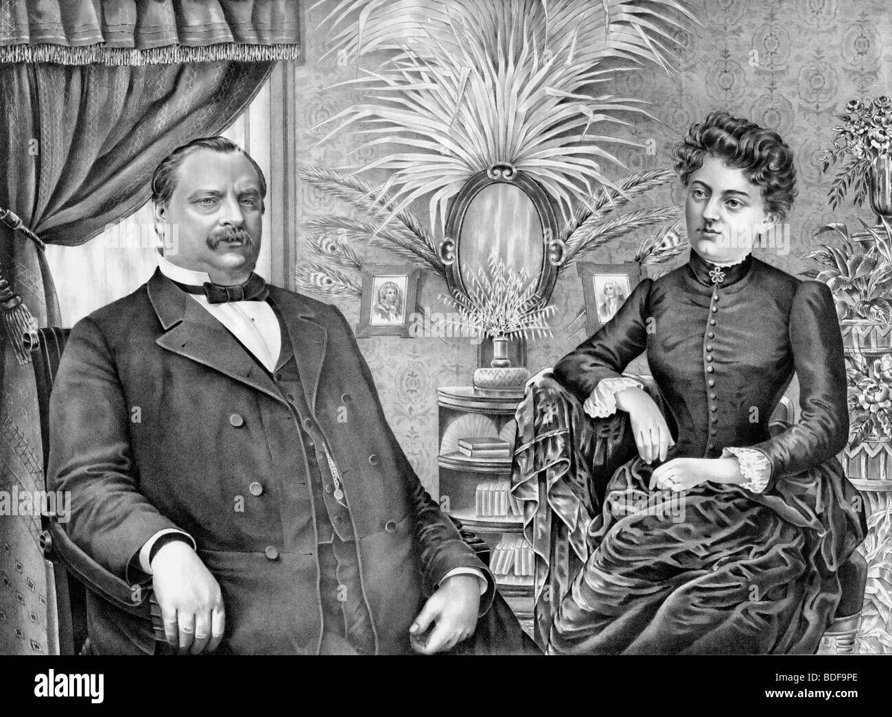 Usa President Grover Cleveland And Wife Frances Folsom Cleveland Stock Photo Alamy
