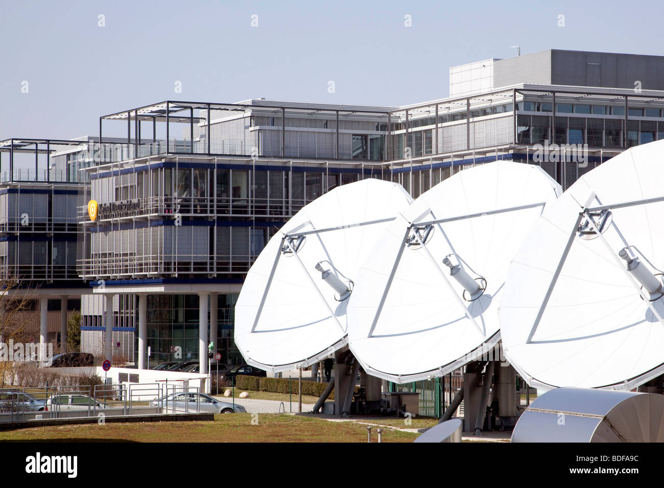 Kabel Deutschland company, satellite dishes in Unterfoehring near Munich, Bavaria, Germany, Europe - Stock Image