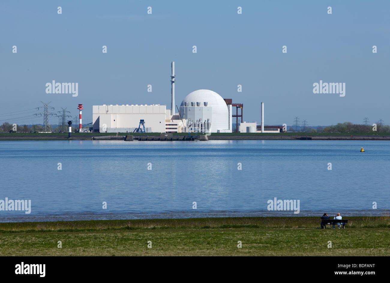 Kernkraftwerk, Brokdorf, Deutschland, Germany - Stock Image