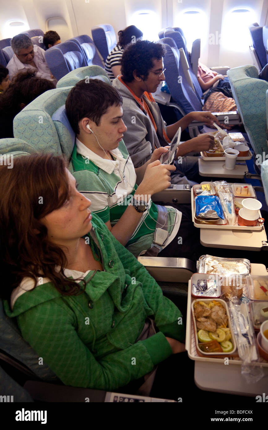 airline meal, Egypt Air flight - Stock Image