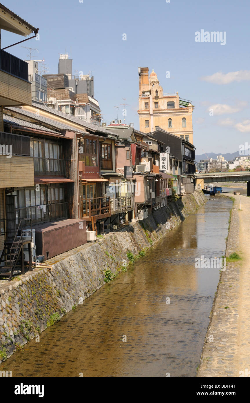 Channel along the traditional houses at the Kamu river in the center of Kyoto, Japan, Asia - Stock Image