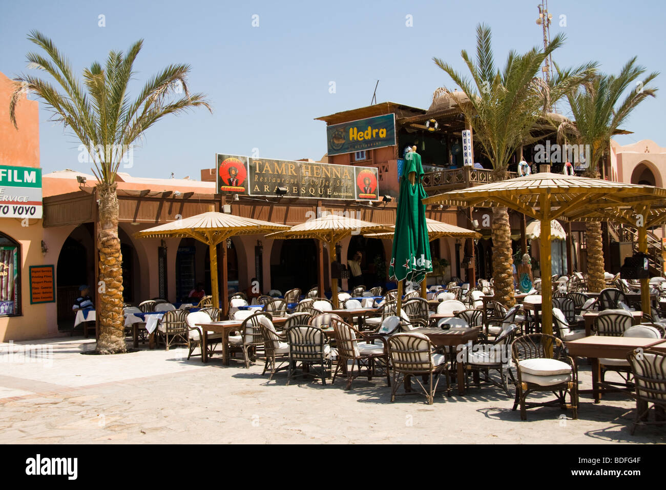 Restaurants in the Tamr Henna area of El Gouna, Red Sea, Egypt - Stock Image