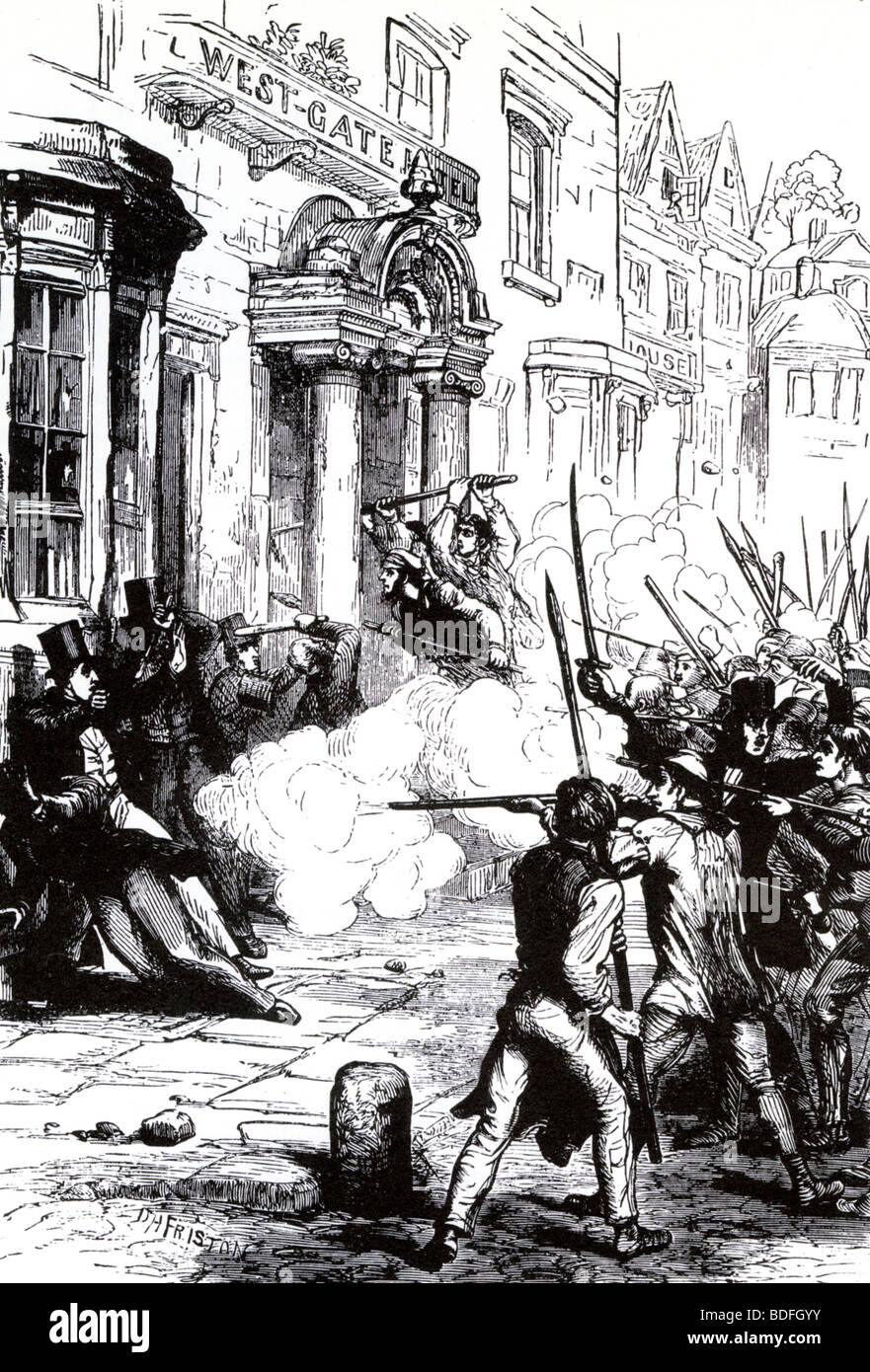 CHARTISTS - armed insurrection Newport, Wales, November 1839, attempting  to release their imprisoned leader Harry - Stock Image