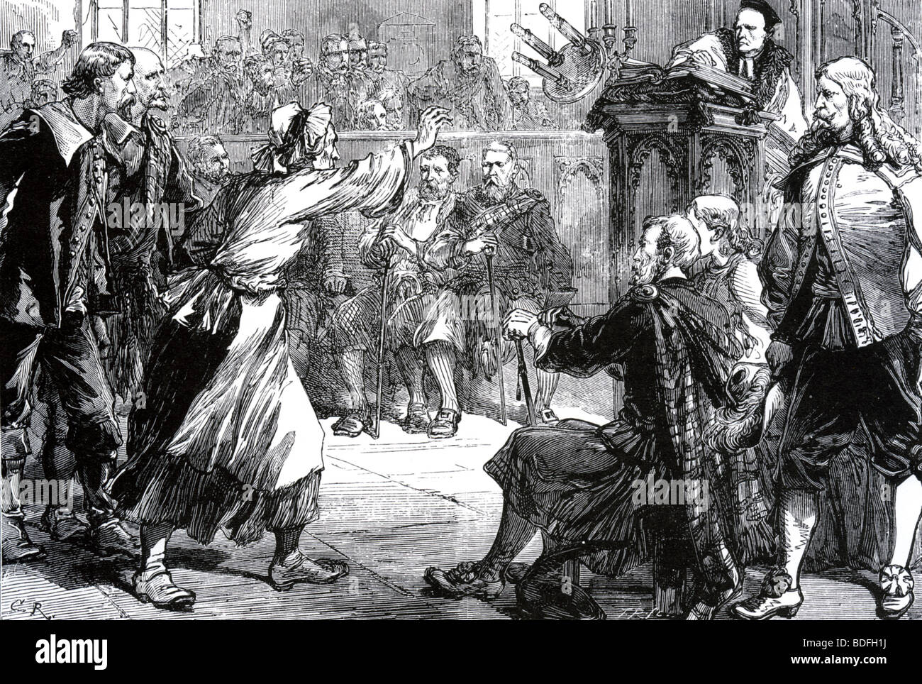 JENNY GEDDES protests against the new forms of church service in St Giles Church, Edinburgh in 1637 - Stock Image