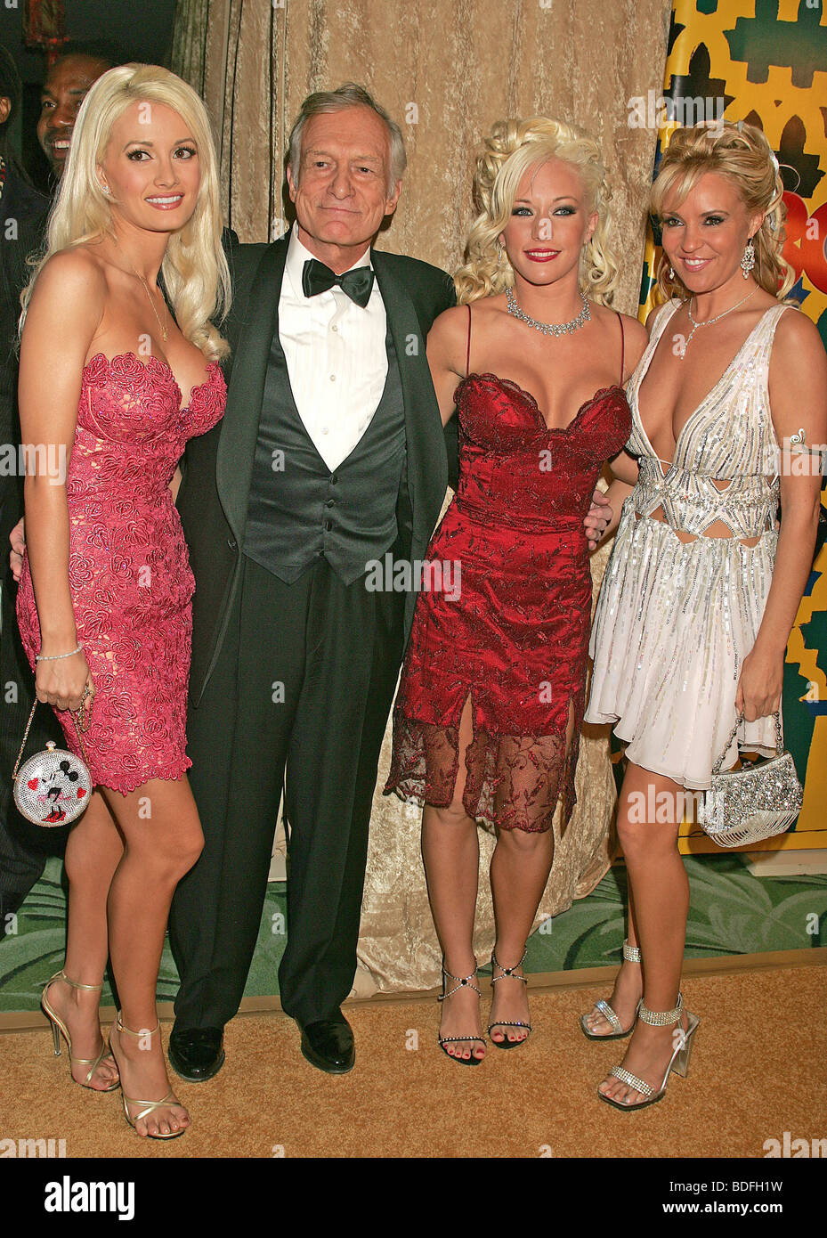 HUGH HEFNER US publisher with some of the Playmates in 2005 - Stock Image