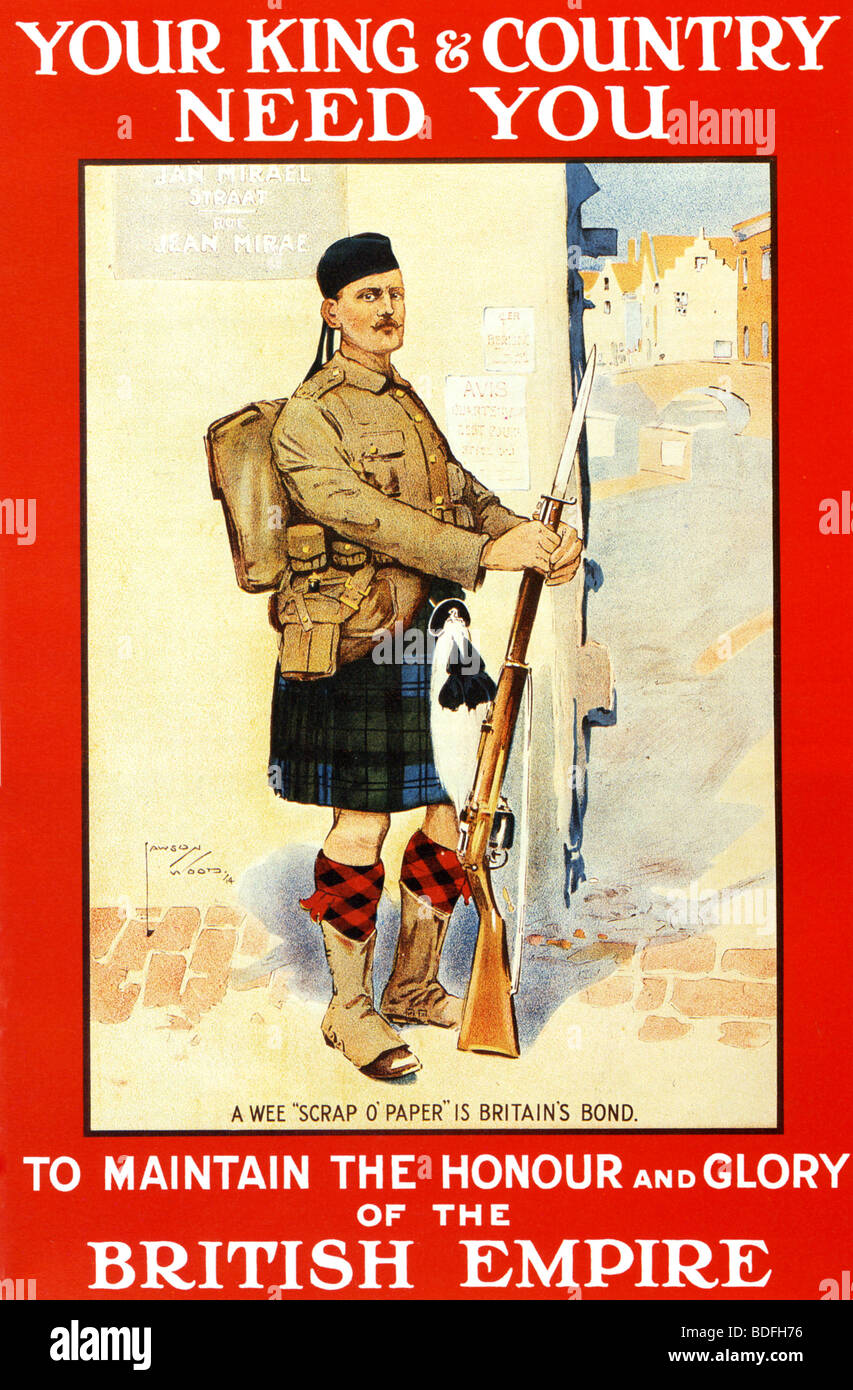 WWI recruiting poster featuring a Scottish soldier - Stock Image