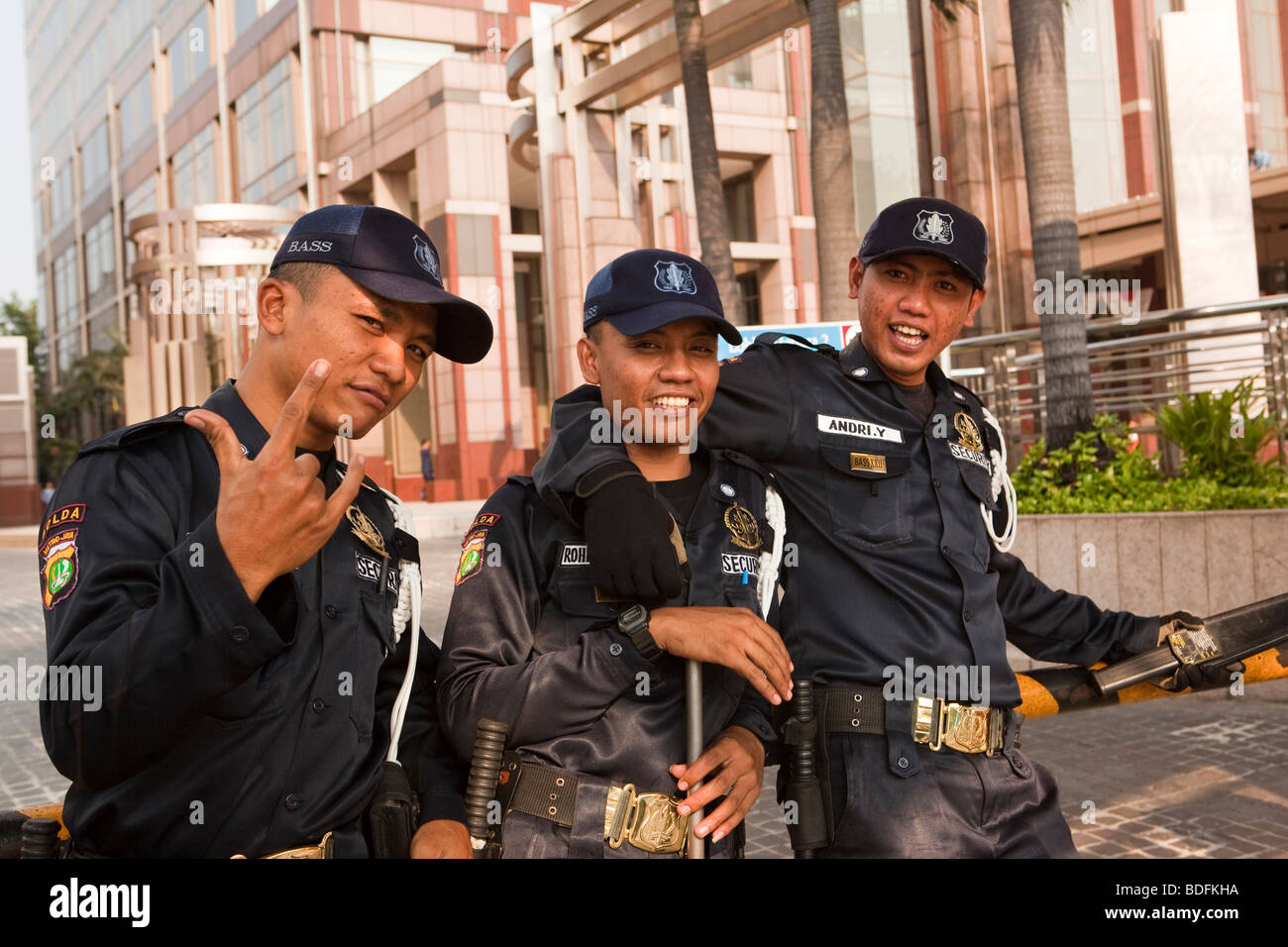 Indonesia, Java, Jakarta, Jalan Thamrin, Plaza Bll Menara office complex, security guards after 2009 terrorist bombing - Stock Image