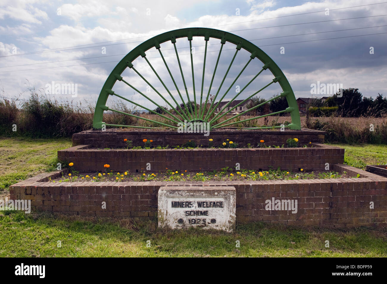 Memorial to the 'Miners Welfare Scheme' dated 1925 near Apperknowle,Derbyshire - Stock Image