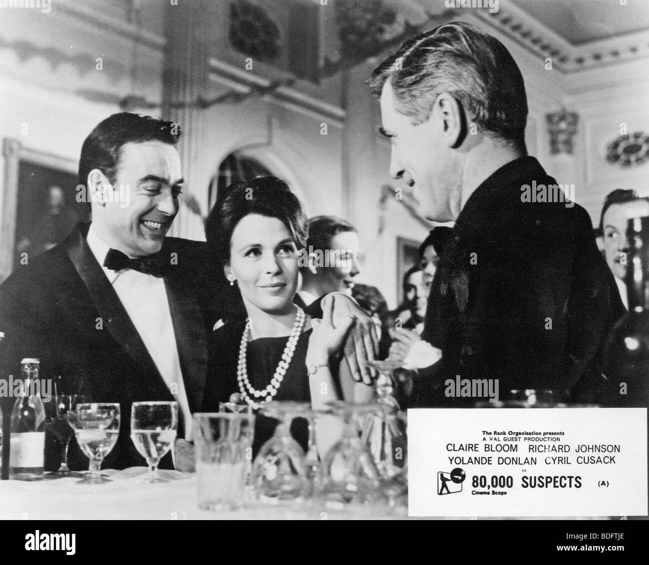 80,000 SUSPECTS  - 1963 Rank film with Claire Bloom and Richard Johnson at left - Stock Image