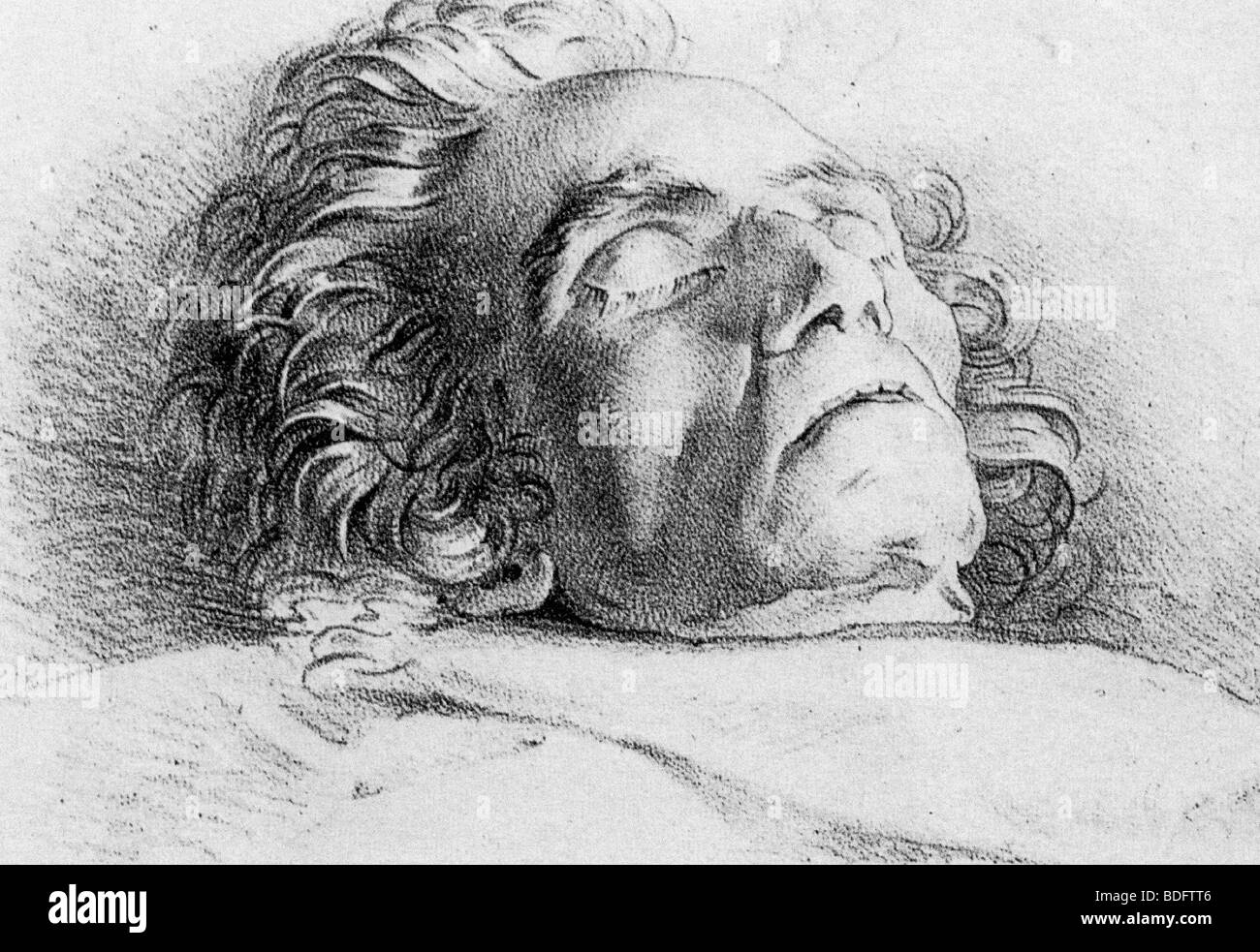 LUDWIG van BEETHOVEN  (1770-1827) German composer on his death bed. - Stock Image