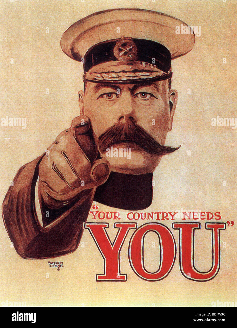YOUR COUNTRY NEEDS YOU  The original form of the famous 1914 British recruiting poster designed by Alfred Leete - Stock Image
