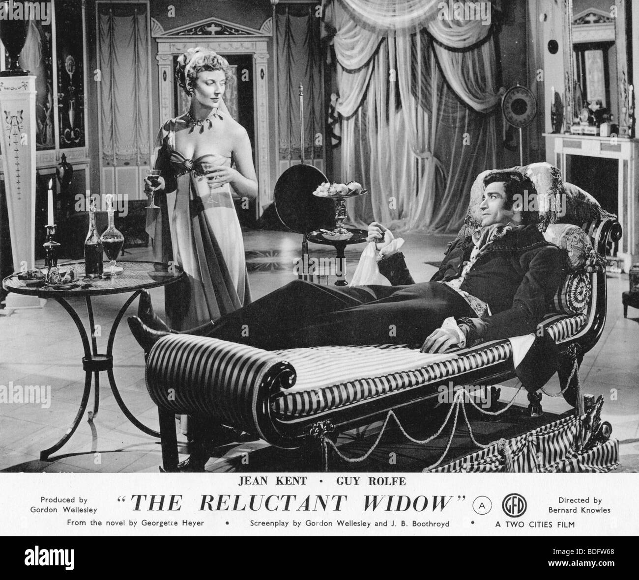THE RELUCTANT WIDOW   1950 Rank film with Jean Kent and Guy Rolfe - Stock Image