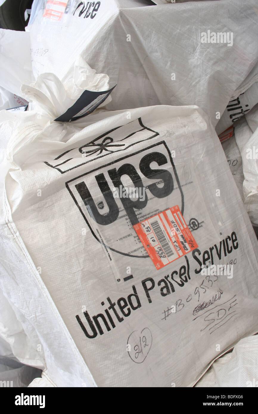 UPS logistics freight air cargo bag Mumbai Airport - Stock Image