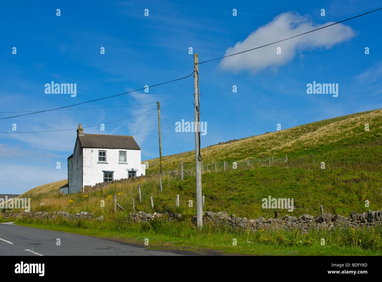 Whitewashed house in Upper Teesdale, County Durham, England UK - Stock Image