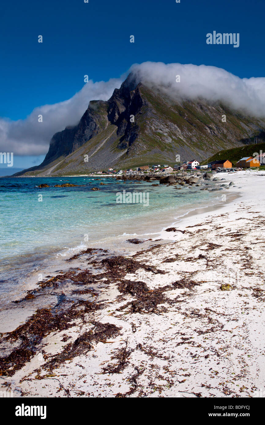 Flakstad Island: Vikten Beach with Mountains and Clouds - Stock Image