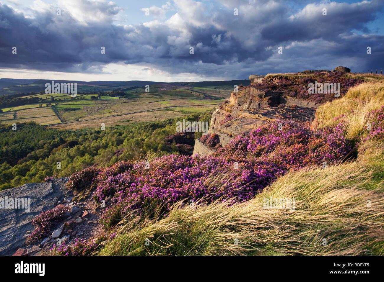 Millstone Edge on Hathersage Moor, near the village of Hathersage in the Peak District National Park, Derbyshire, - Stock Image