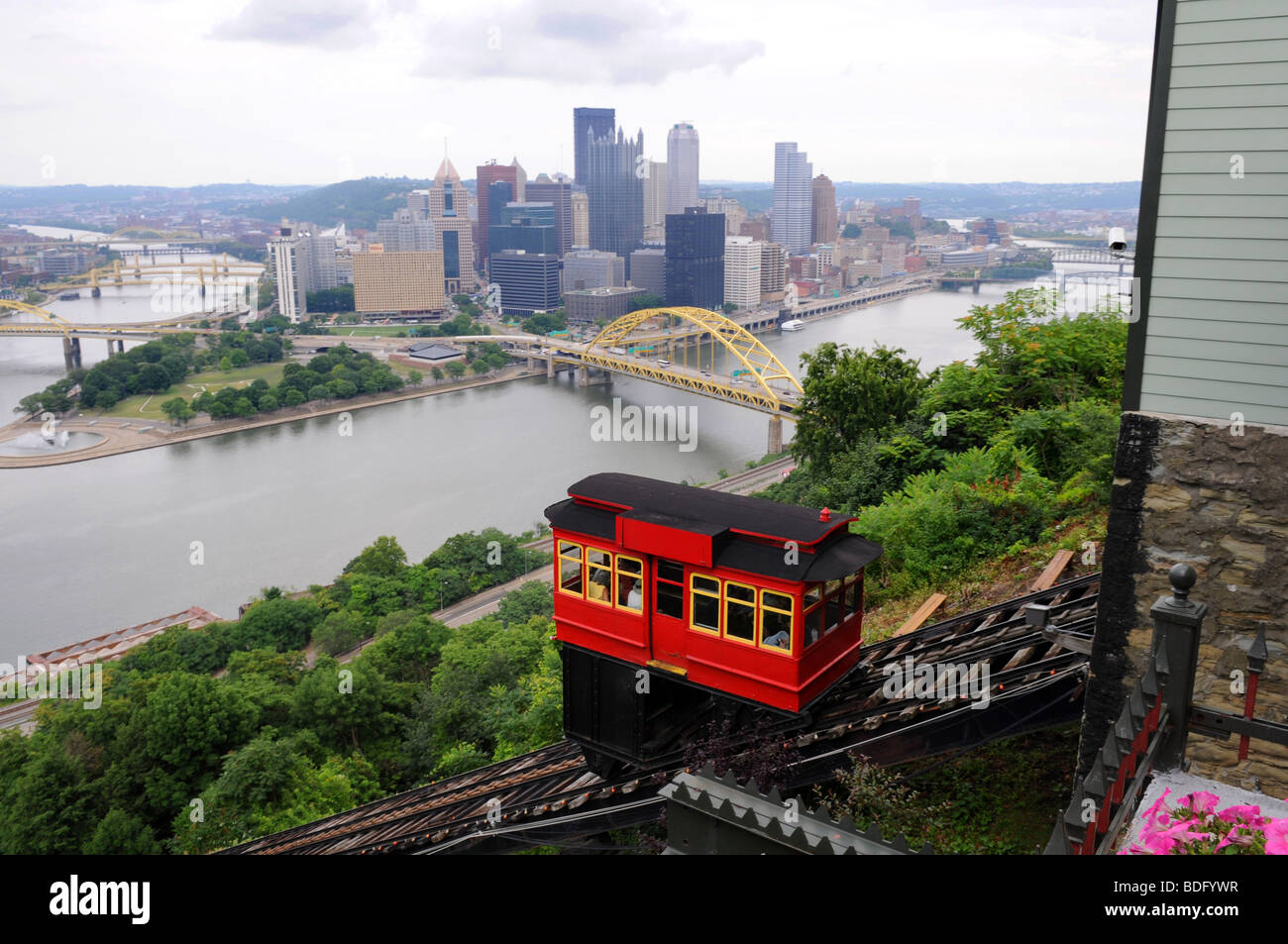 View of the city of Pittsburgh from the Duquesne Incline - Stock Image