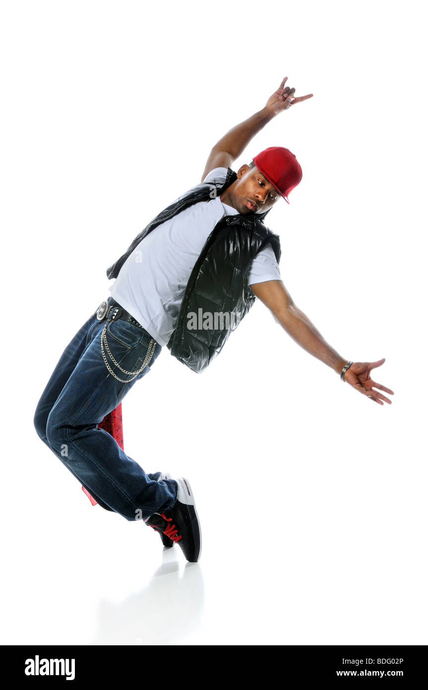 African American hip hop dancer performing over white background Stock Photo