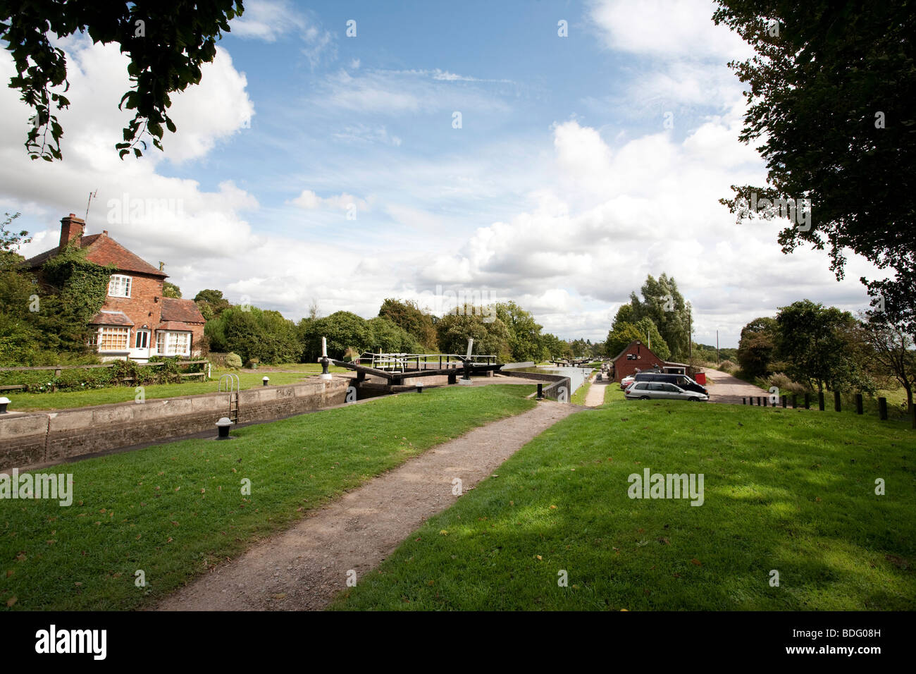 cafe and towpath at Hatton locks in Warwichshire, England - Stock Image