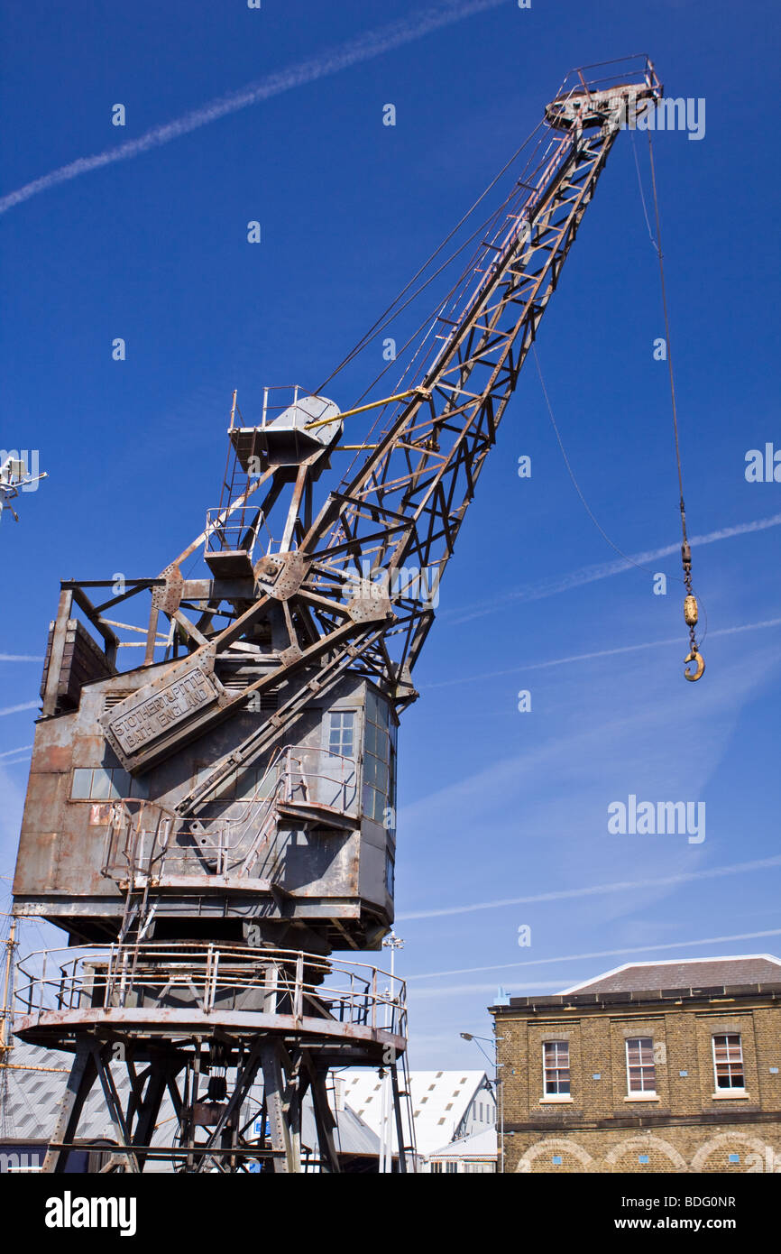 Dockyard Crane at Chatham Historic Dockyard - Stock Image
