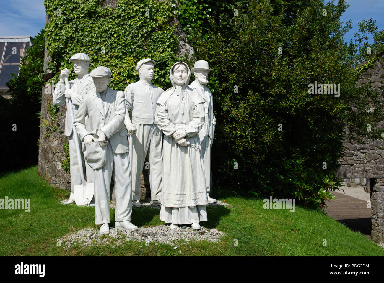 the monument to former workers at the ' English China Clay ' museum near st.Austell in cornwall, uk - Stock Image