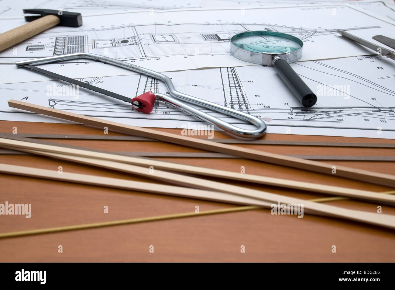 Construction plan of a model of old ship - Stock Image