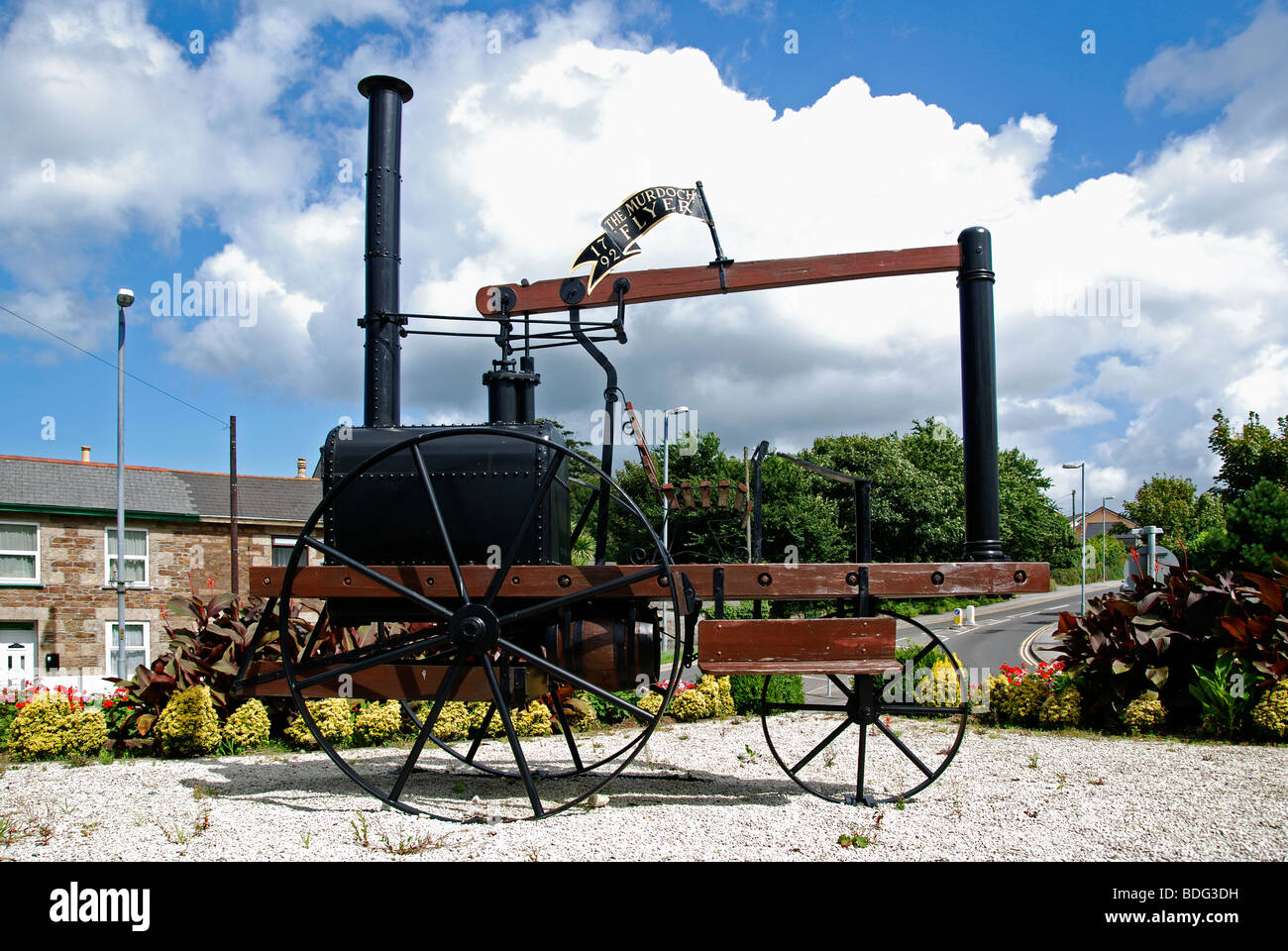 the ' murdoch flyer ' a replica of the original steam engine in redruth, cornwall, uk - Stock Image