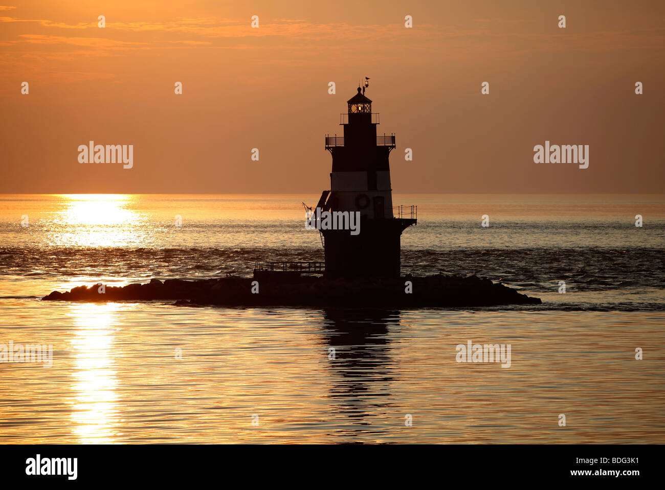Orient Point Light, Long Island Sound, New York - Stock Image
