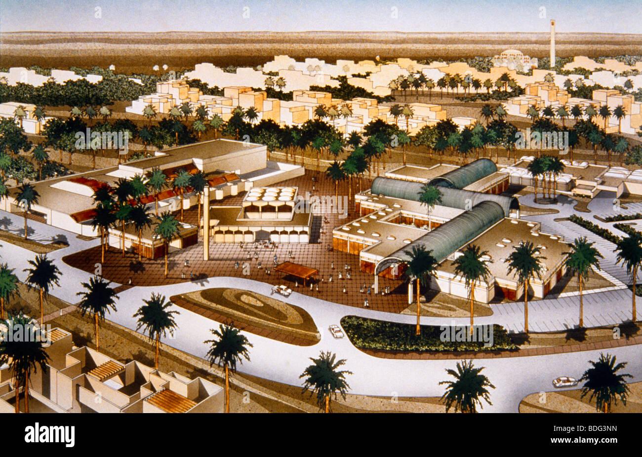 Hail Saudi Arabia Neighbourhood Centre Architects Plan - Stock Image