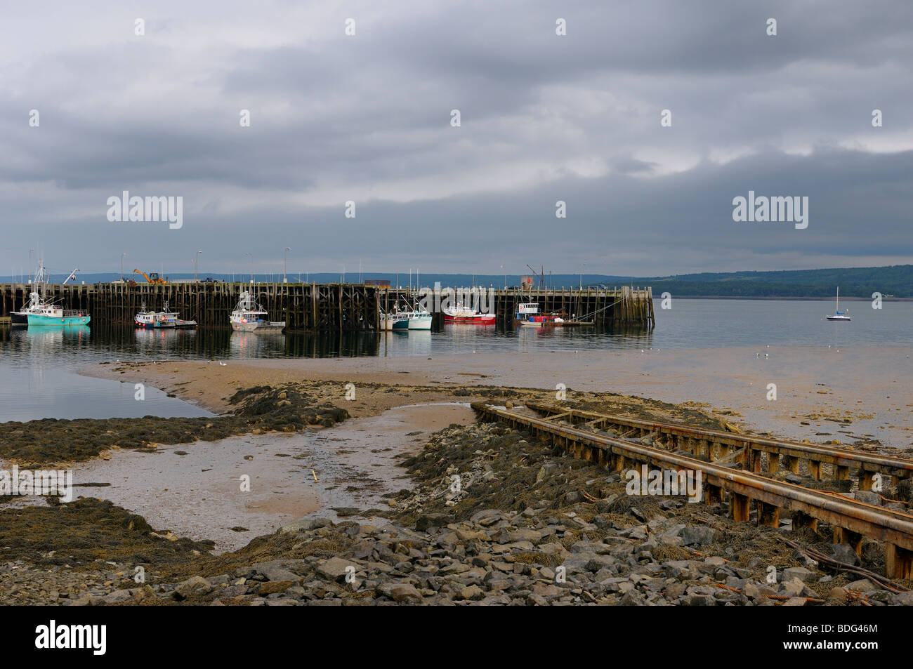 Boat Launch ramp and fishing boats at Digby wharf Bay of Fundy Nova Scotia at low tide - Stock Image