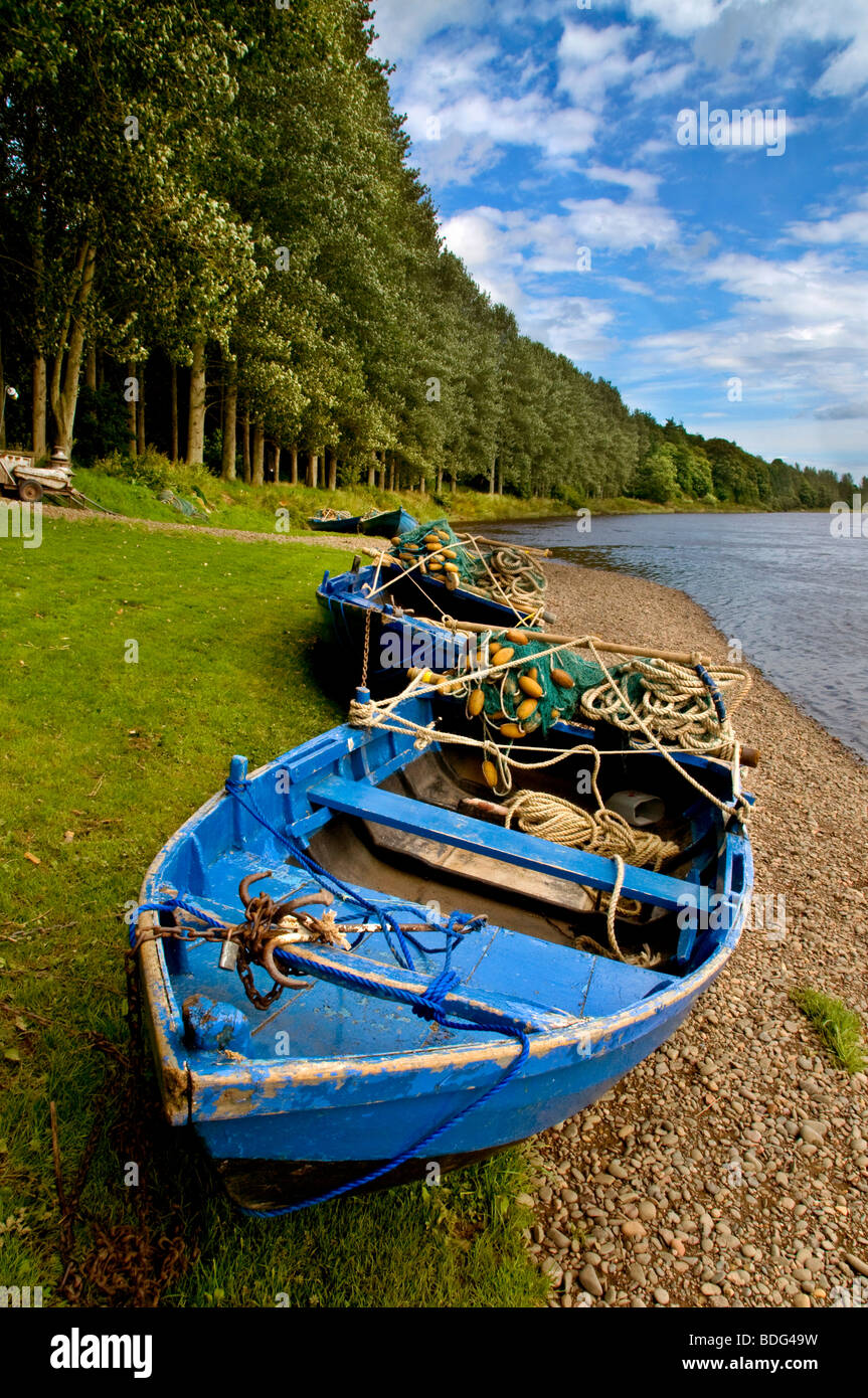 Traditional salmon fishing boats at Paxton House on the River Tweed. - Stock Image
