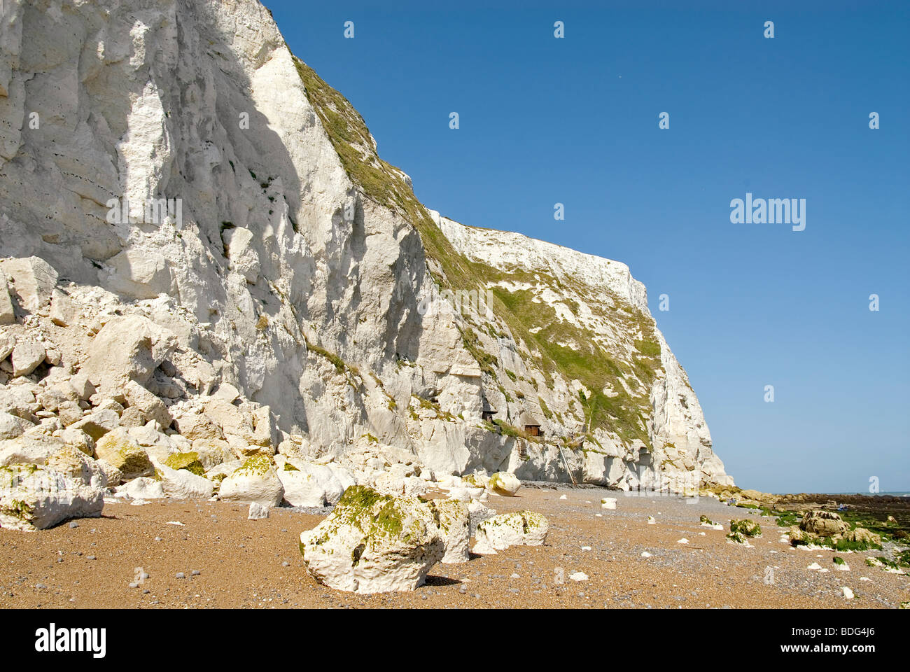 View over the beach the White Cliffs Nature Resort at Dover, South East England. - Stock Image