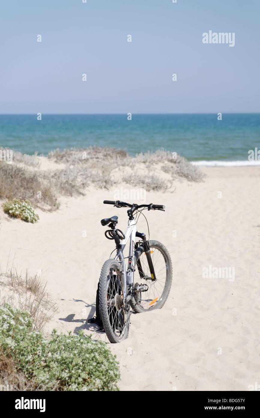Mountain bike parked up on empty sandy beach. El Saler. Valencia. Spain - Stock Image