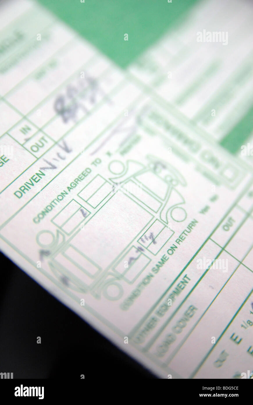 A Hire/Rental car agreement form, showing the condition/damage Stock ...
