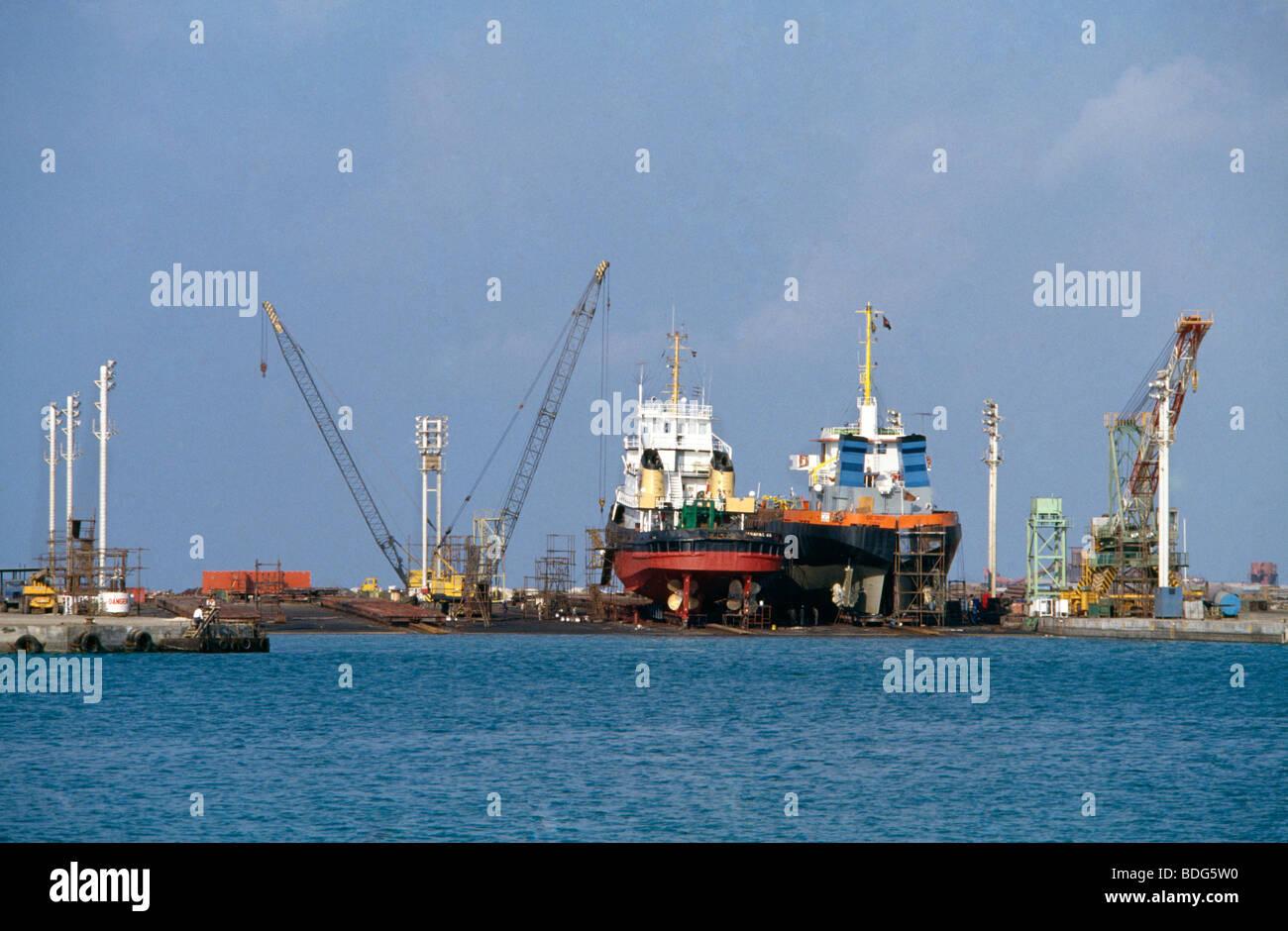 Dubai UAE Ships in Dry Dock - Stock Image