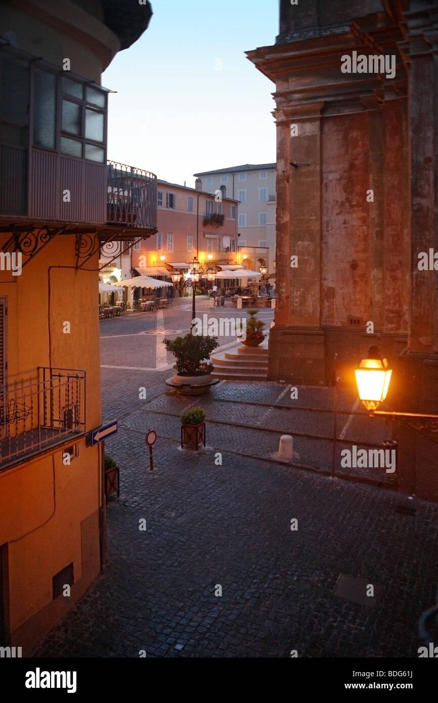 Castel Gandolfo, Evening at the Piazza della Liberta - Stock Image