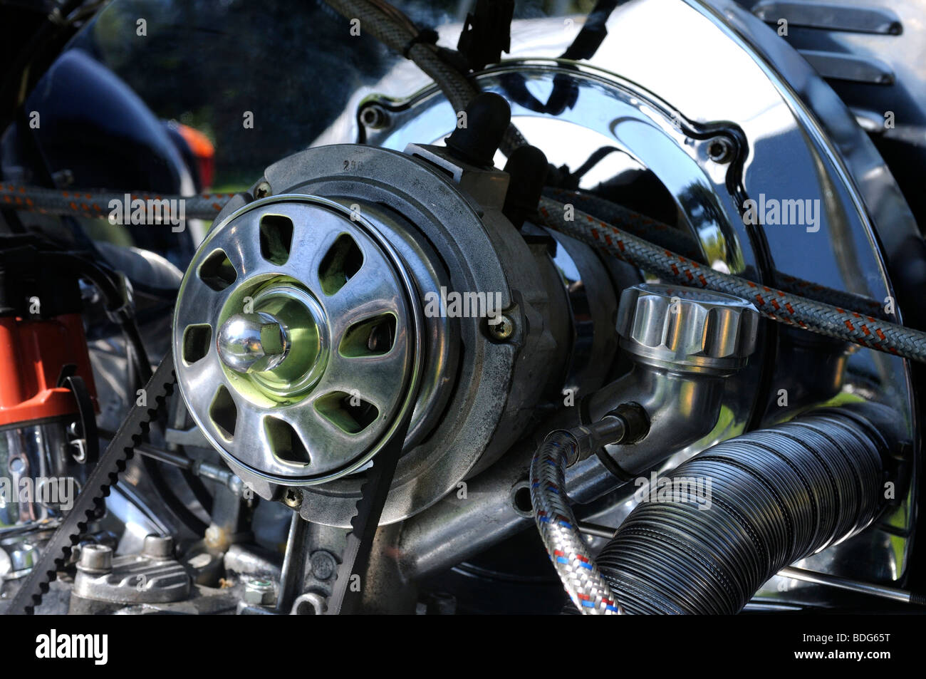 Detail of a VW Beetle flat twin engine, Germany - Stock Image