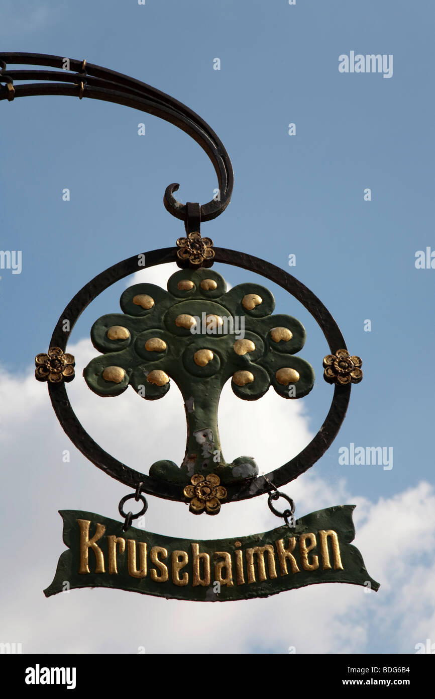 Tavern sign, historic restaurant Kruse Baimken, Munster, North Rhine-Westphalia, Germany, Europe - Stock Image