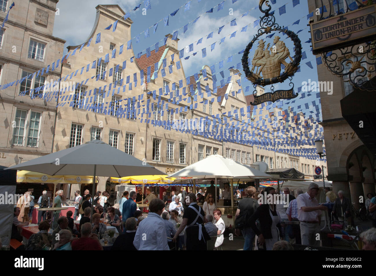 Europe Day in Muenster, gabled houses on the Prinzipalmarkt square, North Rhine-Westphalia, Germany, Europe - Stock Image