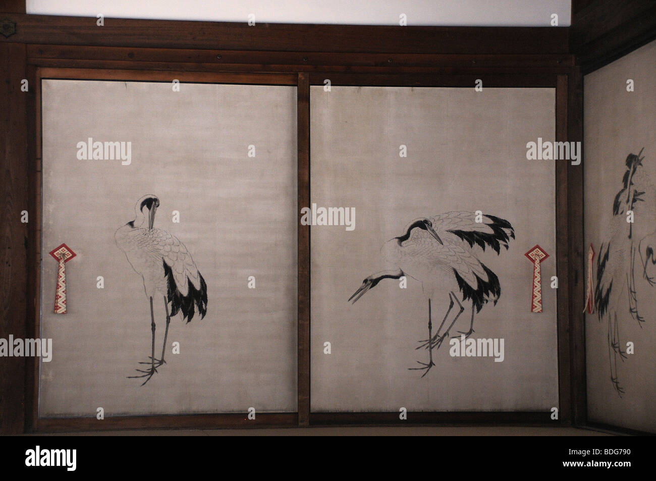 Sliding door with cranes, in the Imperial Palace, Gosho, shown to the population twice a year, Kyoto, Japan, Asia - Stock Image
