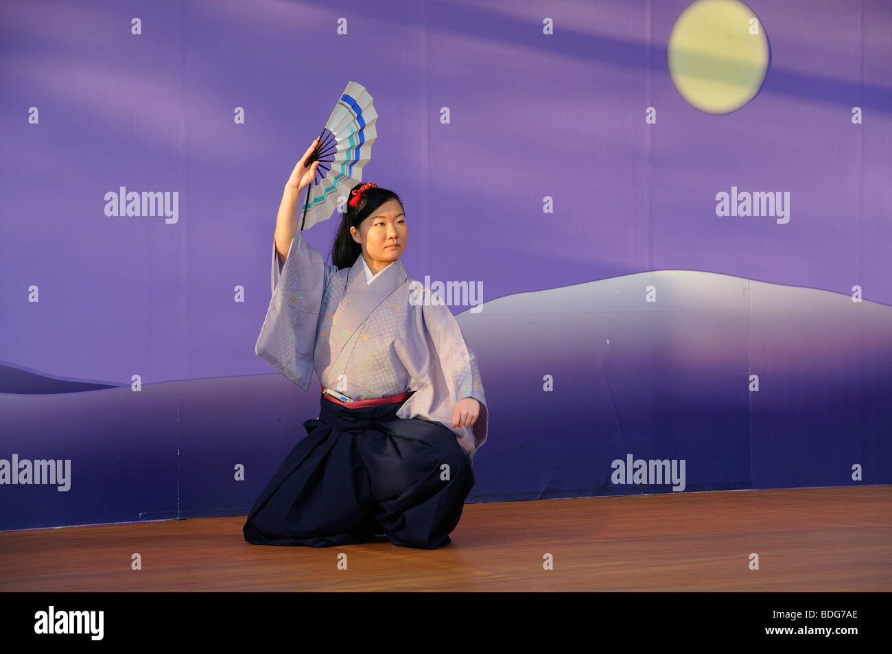 Fan dance, Nihon Buyo, at the Cherry Blossom Festival, Hanami in Kyoto, Japan, Asia - Stock Image
