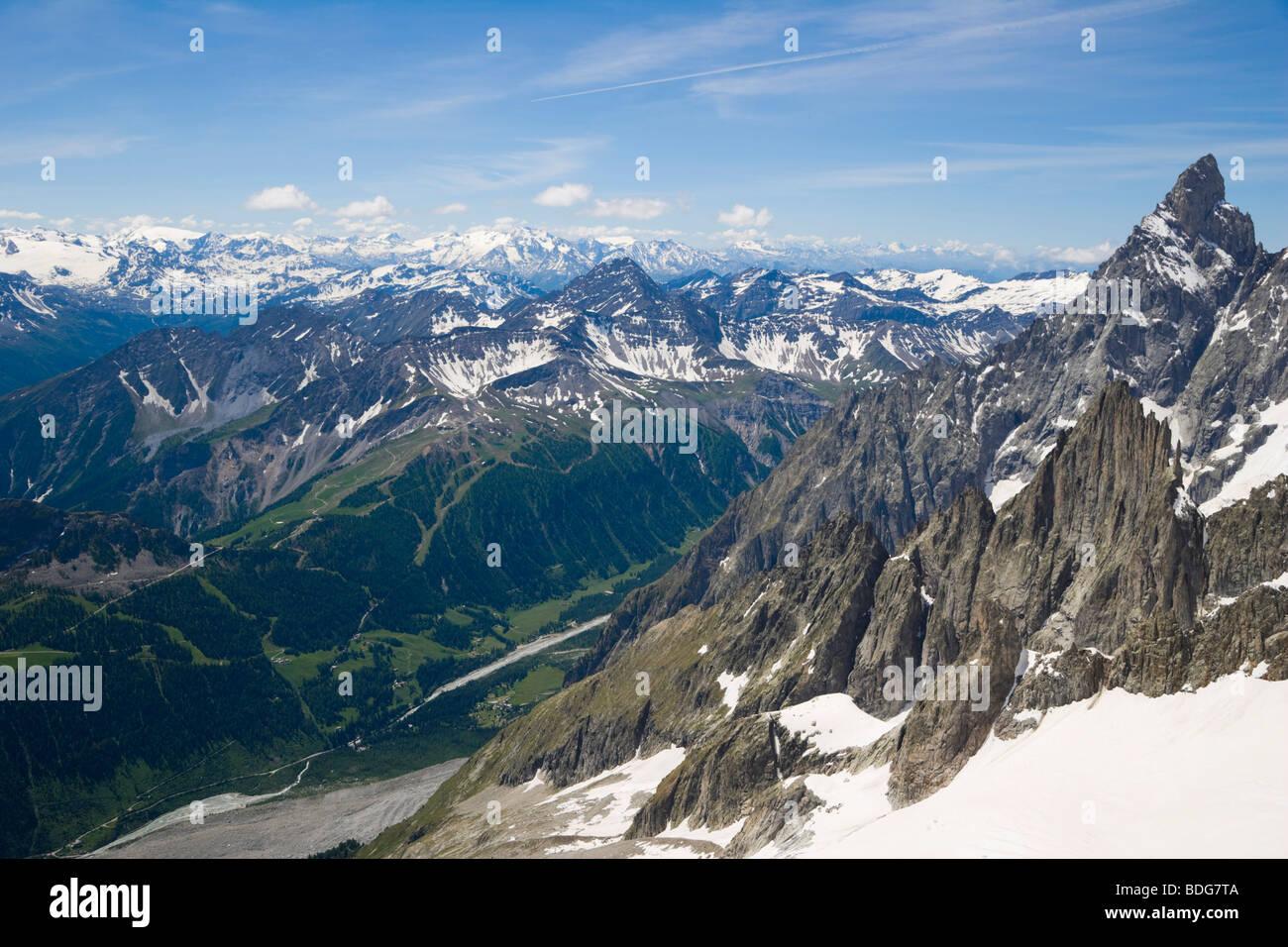 Aiguille Noire de Peuterey, Les Glaciers de la Vanoise, La Grande Motte and Val Veny, Mont Blanc Massif, Alps, Italy, - Stock Image