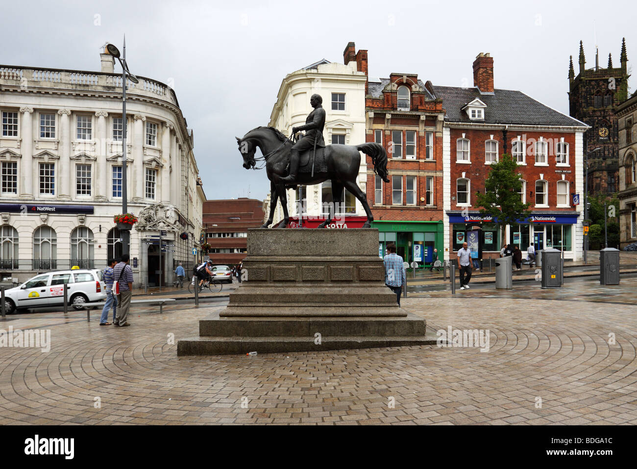 The statue of Prince Albert the Prince Consort, Queen's Square, Wolverhampton, UK - Stock Image