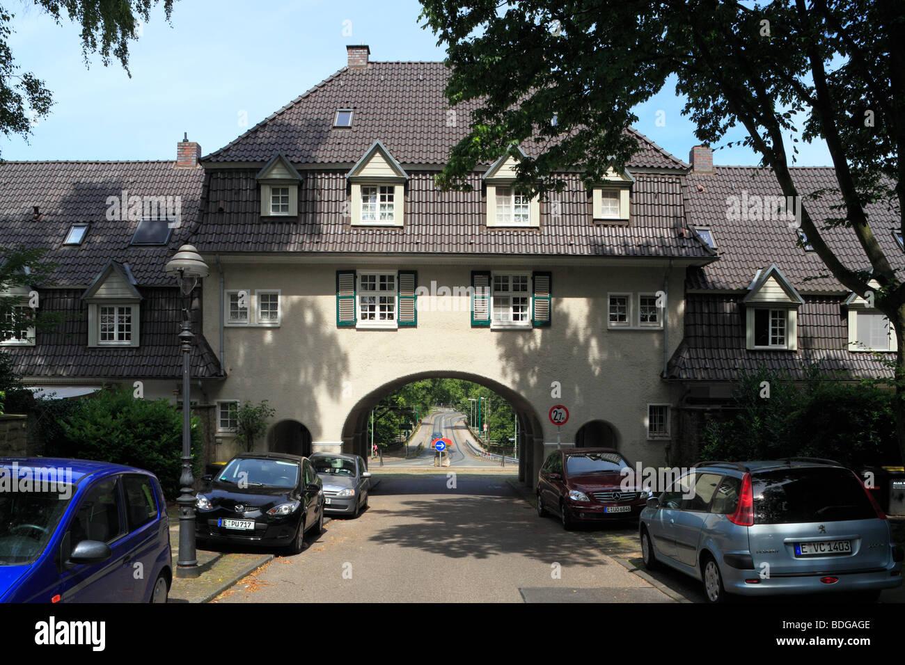 Route der Industriekultur, Friedrich Alfred Krupp, Margarethe Krupp, Arbeitersiedlung, Kruppsiedlung Margarethenhoehe Stock Photo