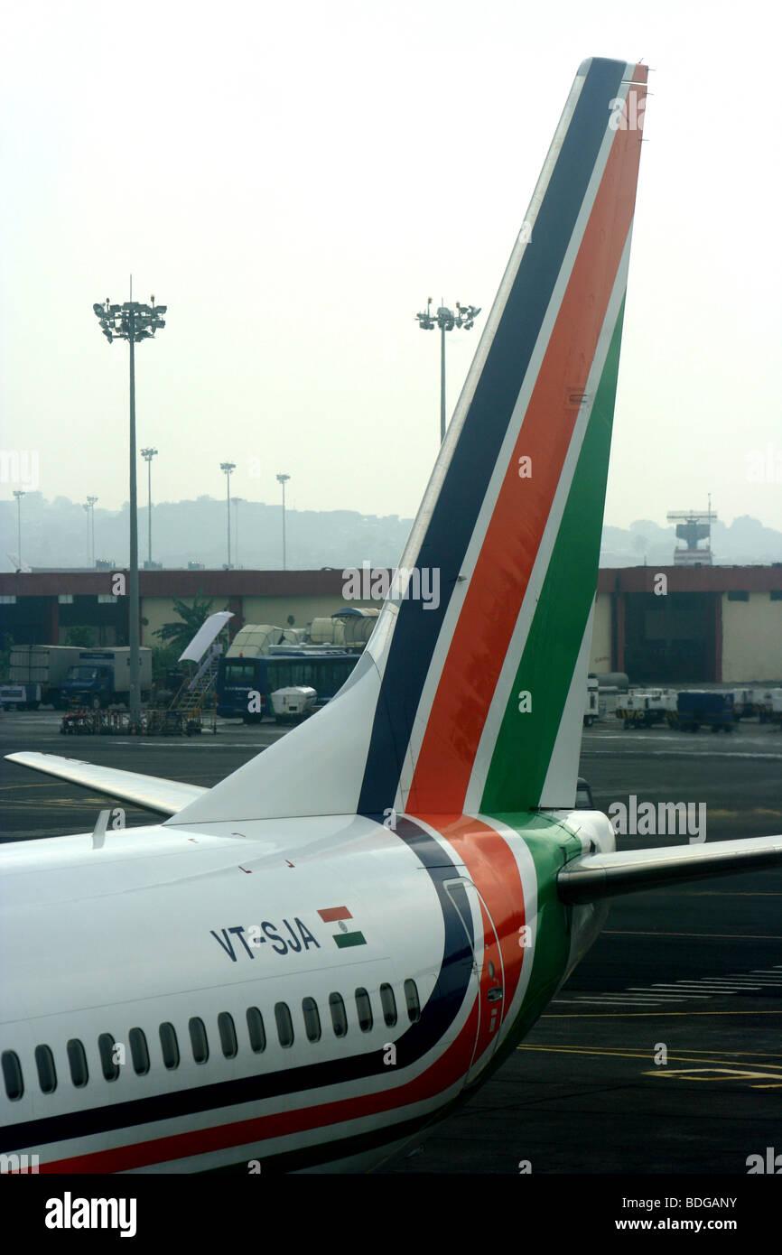 Air Sahara Airlines tailplane airport apron - Stock Image