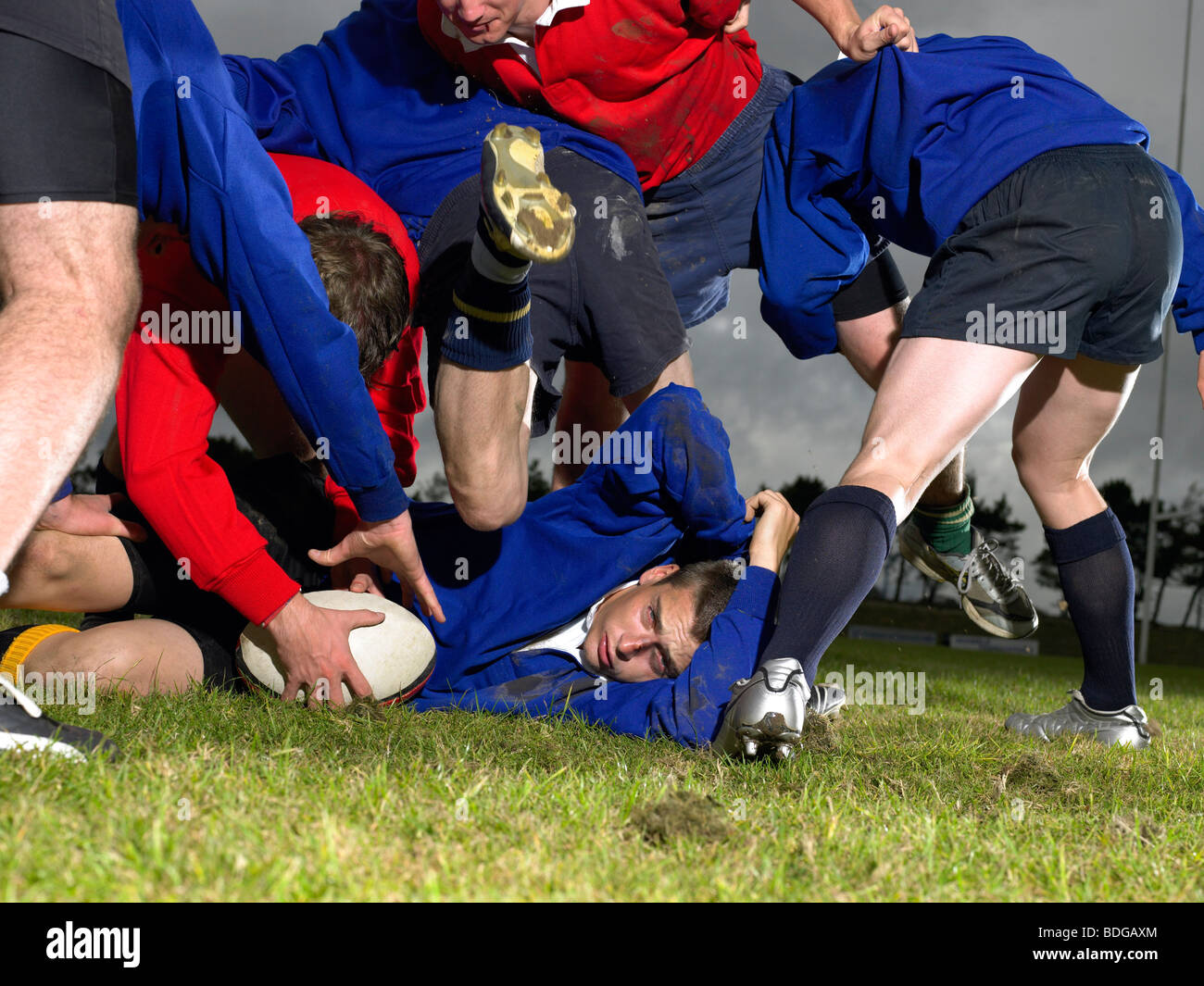 Playing rugby - Stock Image