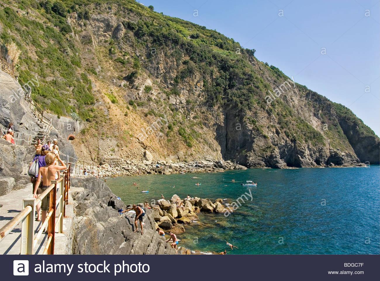 Village at the Parco Naturale Cinque Terre near Riomaggiore at the Ligurian Coast, North West Italy. - Stock Image