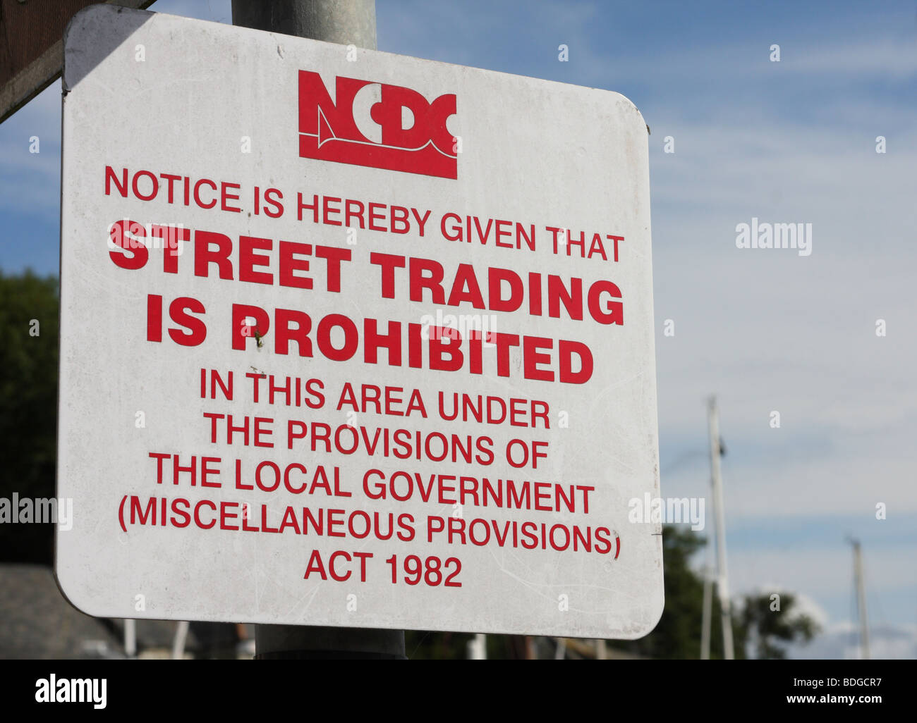 A Street Trading Prohibited sign in a U.K. town. - Stock Image