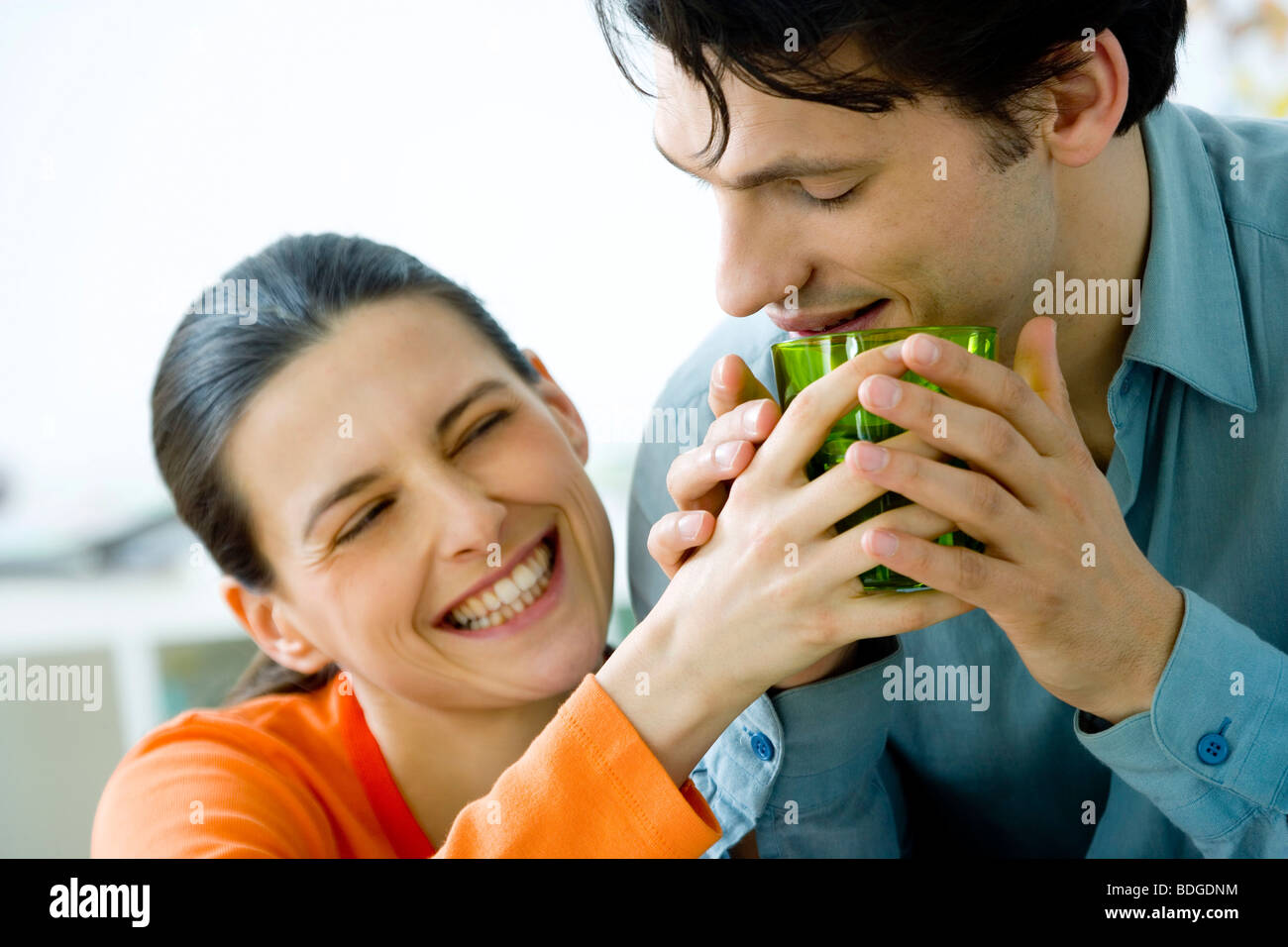 COUPLE INDOORS - Stock Image