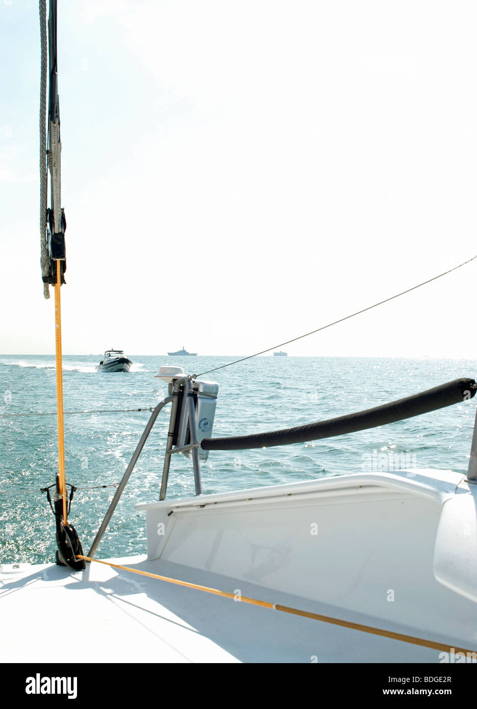 rope pulley on sailing boat - Stock Image